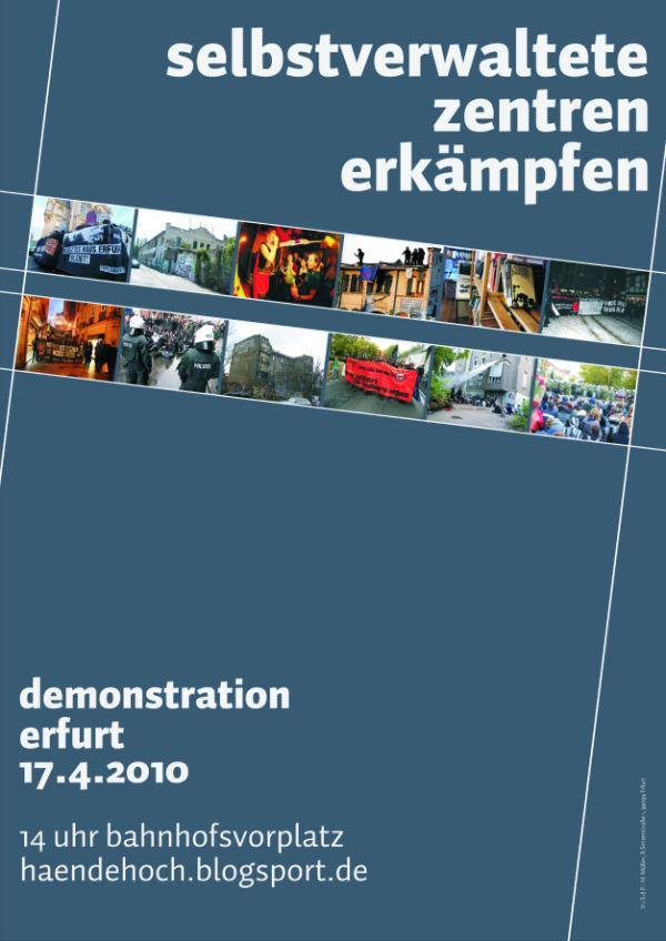 Selbstverwaltete Zentren Erkämpfen - Demo, 17. April, Erfurt